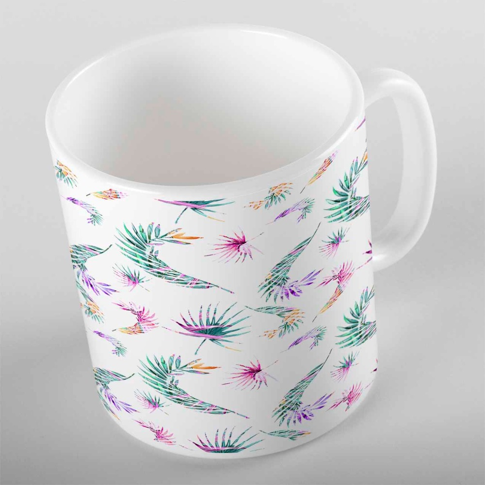 Else Tropical Green Purple Yellow Leaf Floral Flowers 3d Print Gift Ceramic Drinking Water Tea Bear Coffee Cup Mug Kitchen