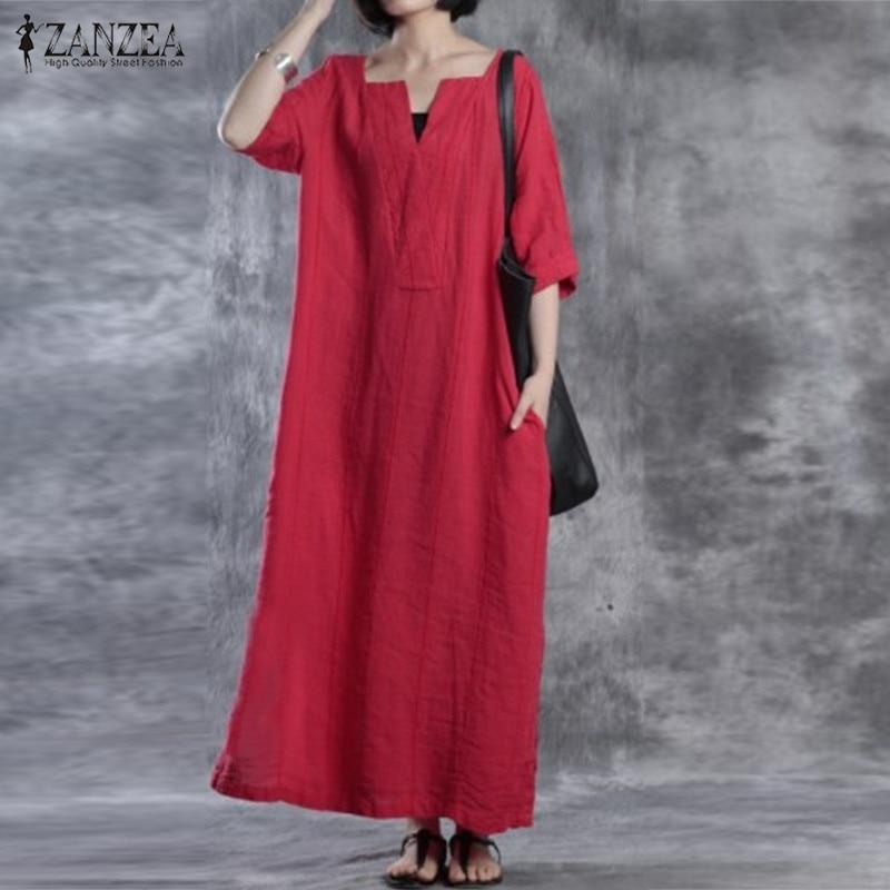ZANZEA Women Dress 2018 Autumn V Neck Vintage Cotton Maxi Long Dresses Ladies Casual Loose Oversized Vestidos Plus Size