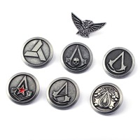 Assassins Creed Brooch For Men's Shirt Assassin's Creed Retro Badges Silver Brooches for Boyfriend Gift