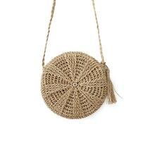 Для Женщин соломенные сумки в богемном стиле из ротанга женские пляжные сумки круг леди ткань сумка ручной работы круглый Kintted Crossbody SS3114