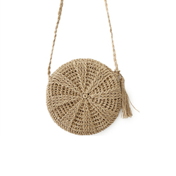 Women Straw Bags Bohemian Rattan Female Beach Handbag Circle Lady Weave Messenger Bag Handmade Round Kintted Crossbody SS3114