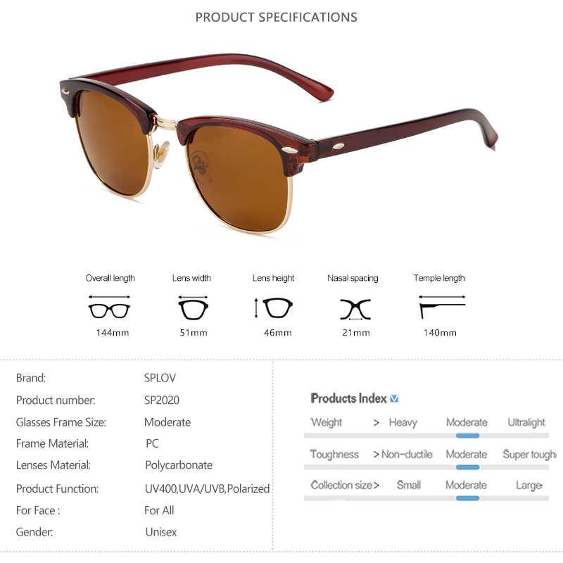 Splov semi sem aro polarizado óculos de sol das mulheres dos homens vintage metal óculos de sol clássico meio quadro condução óculos de sol