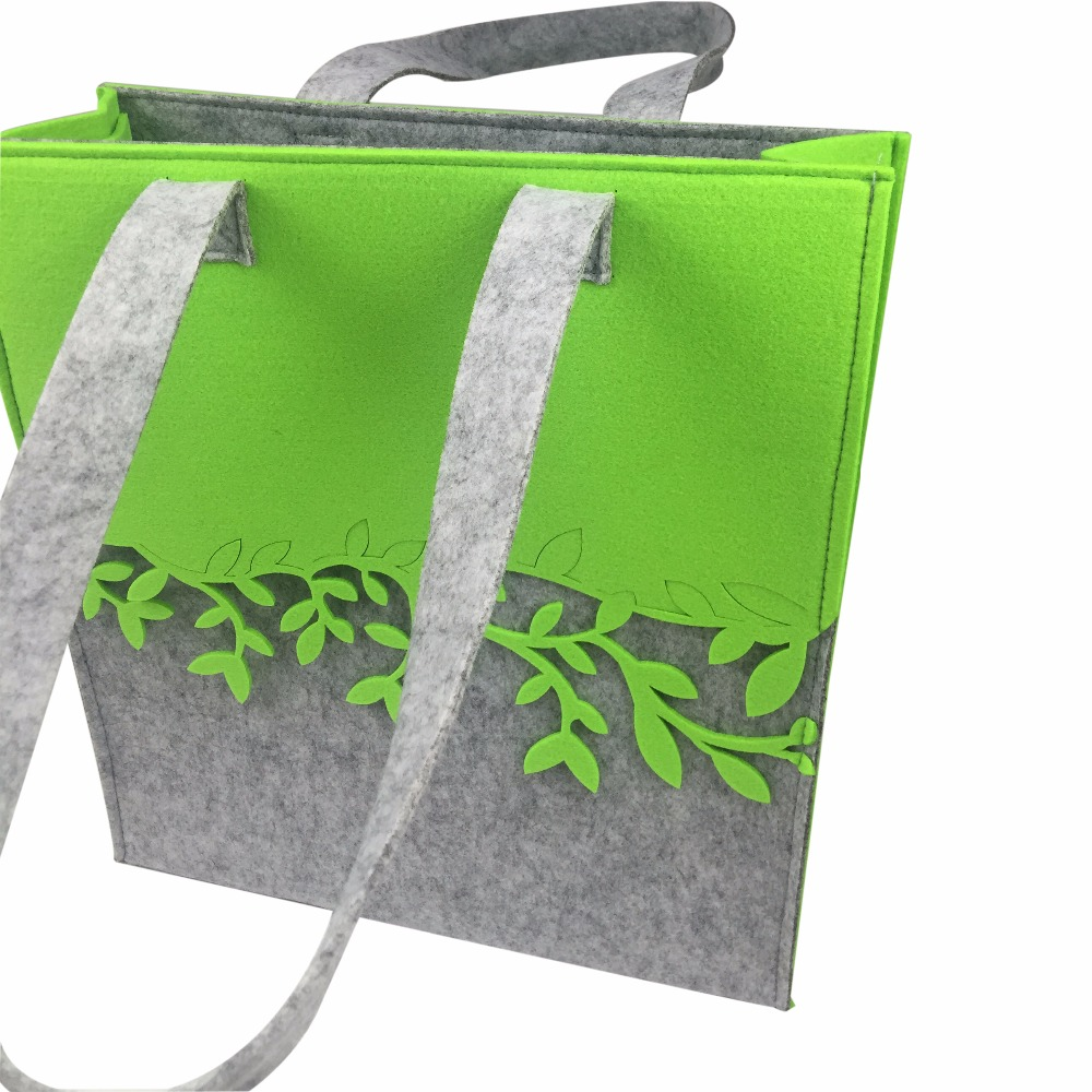FELT contrast color shopping bag for women fashion style designed tote bag for shopping