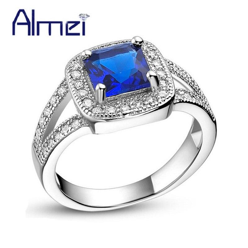 Aliexpress.com : Buy Almei Square Blue Stone Rings for ...