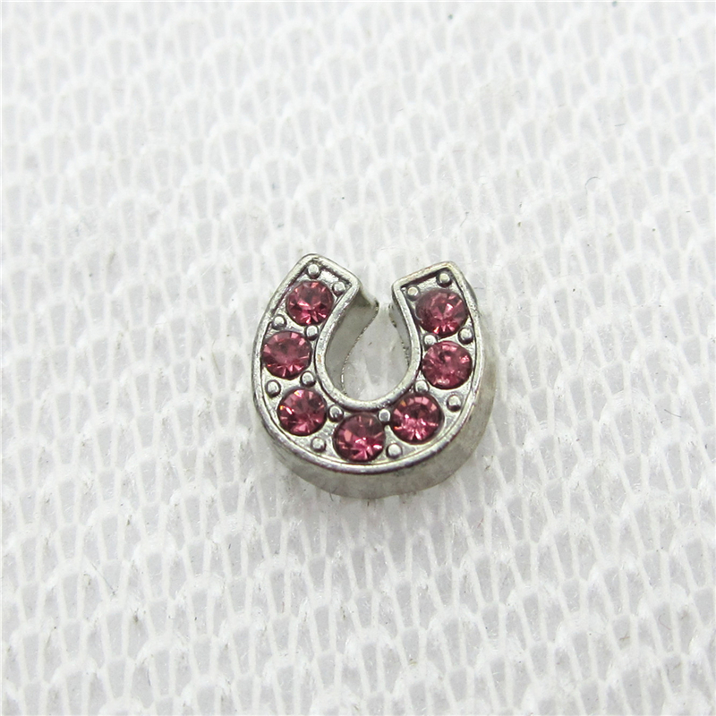 Hot Selling 20pcs/lot Pink Crystal Horse Shoe Football Helmet Floating Charms Living Glass Memory Lockets DIY Jewelry Charms