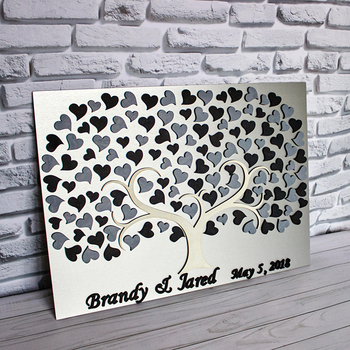 Alternative Wedding Guest Book Tree Personalized Guest Book Hearts Custom 3D Tree of Life Guestbooks Sign Ideas Wedding Gift