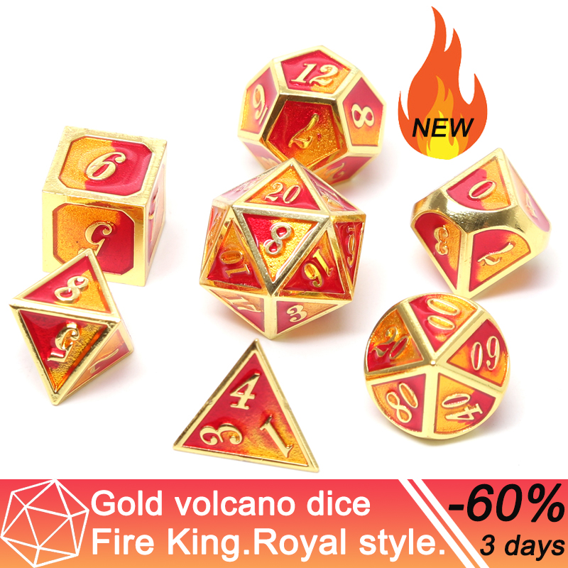 Chengshuo Metal Volcanic Dice Double Color Dnd Set Polyhedral Enamel Rpg For Dungeons And Dragons Zinc Alloy Dices Table Game D6