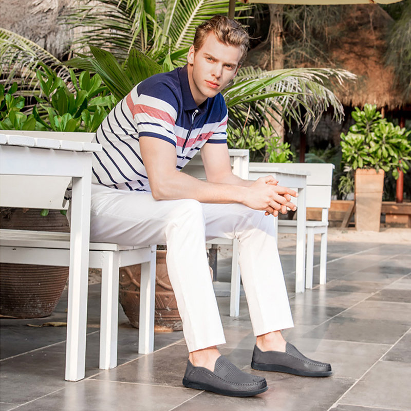 KAMEEL Ademende Gaten Mannen Schoenen Mocassins Zachte Buigbare Echt Koe Lederen Mannelijke Business Loafers Flats Rijden Schoenen Man-in Casual schoenen voor Mannen van Schoenen op  Groep 2