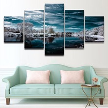 Wall Art Home Decor Framework Canvas Pictures 5 Pieces Artistic Cyan Earth Reflection Sky Water Winter Painting HD Prints Poster
