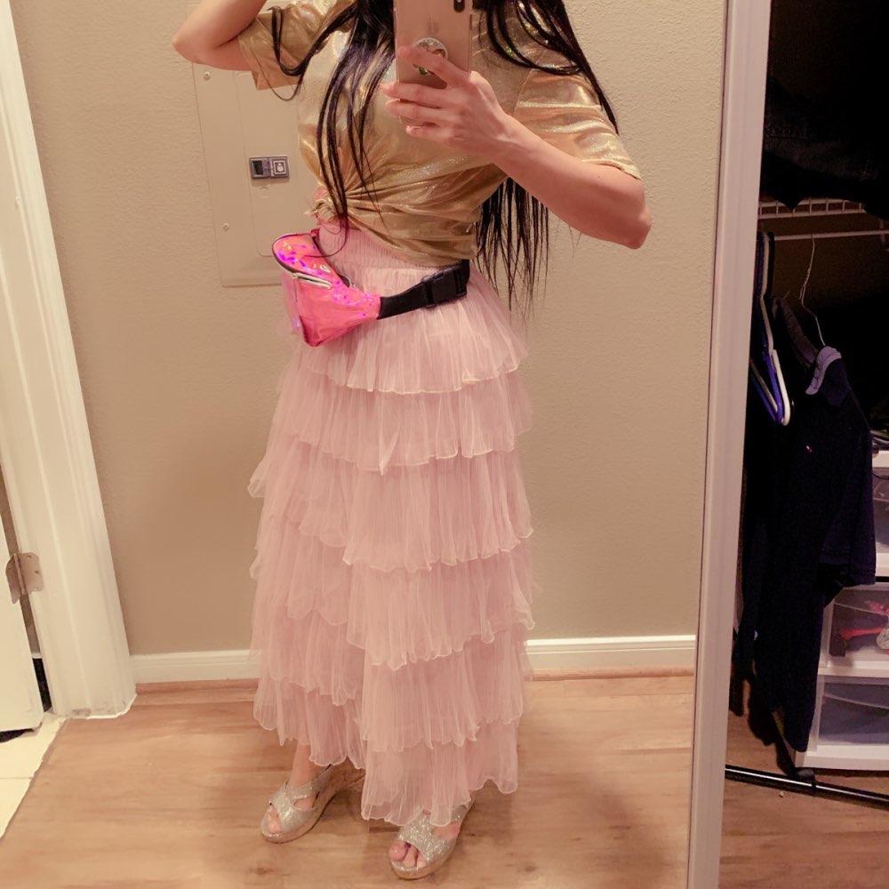 Long Maxi Tulle Skirt Women Fashion Summer Korean School High Waist Black Pink White Mesh Tiered Skirt Female photo review