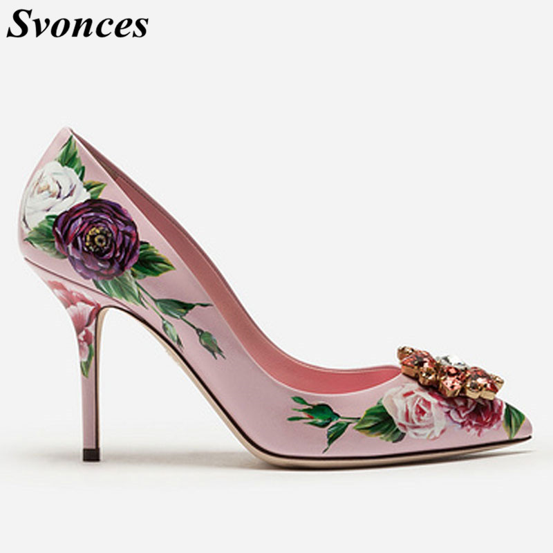 Italian Rhinestone Buckle Floral Print Women Pumps Pink Pointed Toe High  Heels Ladies Crystal Shoes Party ece31635a3dc