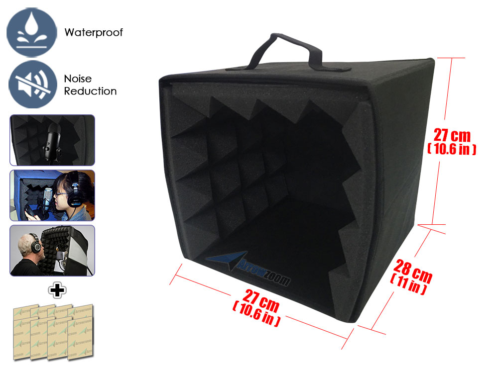 Arrowzoom 10.6 x 10.6 x 11 Portable Microphone Booth Studio Recording Vocal Isolation Foam Box коробка для мушек snowbee slit foam compartment waterproof fly box x large