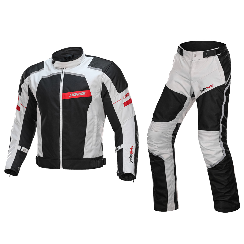 Brand LYSCHY Waterproof Motorcycle Jacket Motocross Suits Jacket&Pants Moto Jacket Protective Gear Armor Men Motorcycle Clothing herobiker motorcycle jacket body armor motocross protective gear motocross off road racing vest moto armor vest black and white