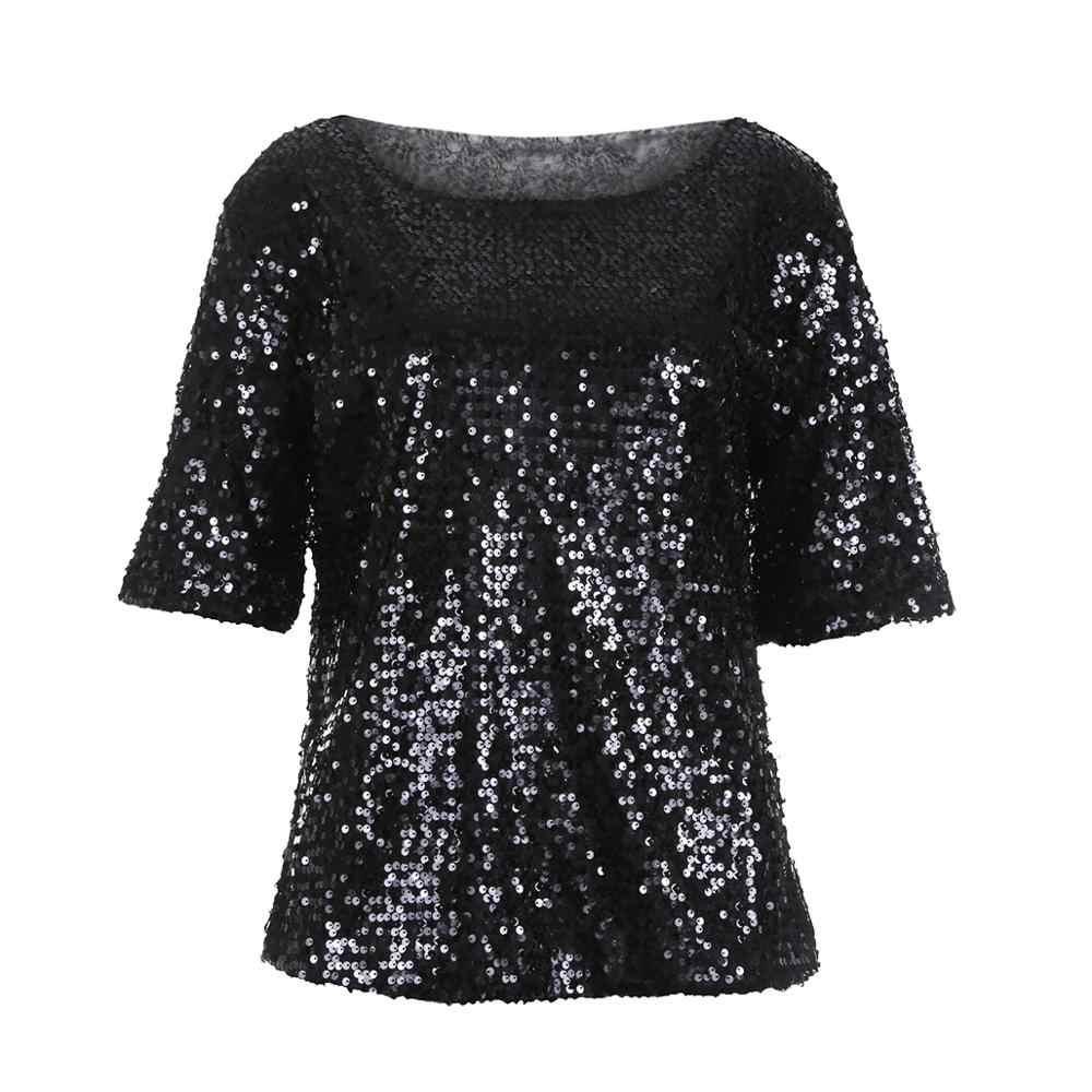 Новинка 2018, модная женская рубашка с открытыми плечами, блестящая, с блестками, тонкая, свободная, топы, блузки, футболка CH