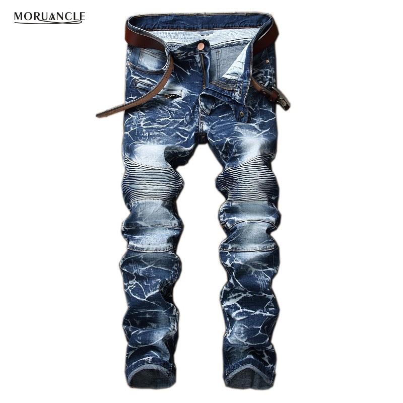 MORUANCLE Brand Designer Men's Biker   Jeans   Vintage Washed Motorcycle Denim Trousers Pants Straight Plus Size 28-42