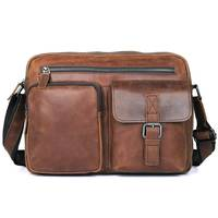 Crossbody Bags Man Brown Business Casual Travel Shoulder 13 Laptop Ipad Book File Vintage Cow Leather Bag Mens Messenger Bag