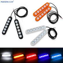 MODERN CAR 2019 New Arrival 2Pcs 6LED 5 Colors Automobile Atmosphere Lamp 12V DIY Decorative Light Universal Car Interior Lights