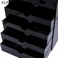 FUNIQUE Black 5 Layer Drawer Style Jewelry Packaging Boxes Wholesale Custom Plastic Beads Storage Jewelry Package