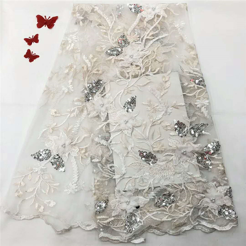 White Sequin Embroidered Tulle Lace Italy Bridal Fashion Wedding Dress Net Lace Fabric Latest 3d Appliques Lace Fabric X1014-1White Sequin Embroidered Tulle Lace Italy Bridal Fashion Wedding Dress Net Lace Fabric Latest 3d Appliques Lace Fabric X1014-1