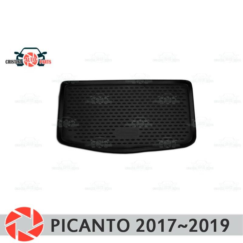 Tapis de coffre pour Kia Picanto 2017 ~ 2019 tapis de sol de coffre antidérapant protection contre la saleté en polyuréthane