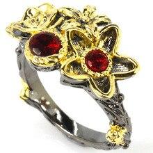 8.0# SheCrown Vintage Flower Shape Blood Ruby Black Gold 925 Silver Ring 19x14mm