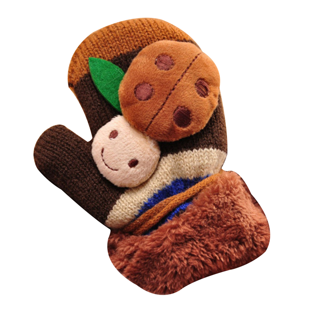 Cute Cartoon Beatles Winter Thicken Warm Girls Boys Gloves Gift