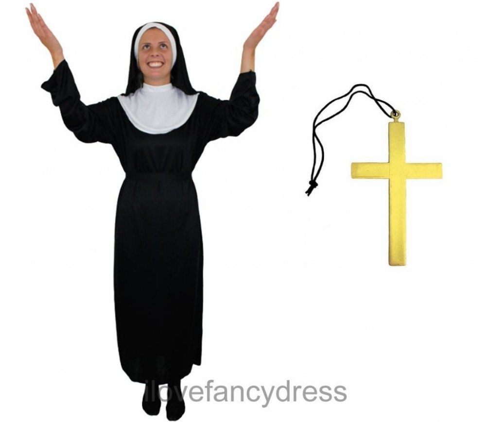 LADIES NUN COSTUME FOR WOMEN LONG BLACK HOLY SISTER MONK FANCY DRESS HEADPIECE AND COLLAR FITS VIRGIN MARY FAST SHIPPING