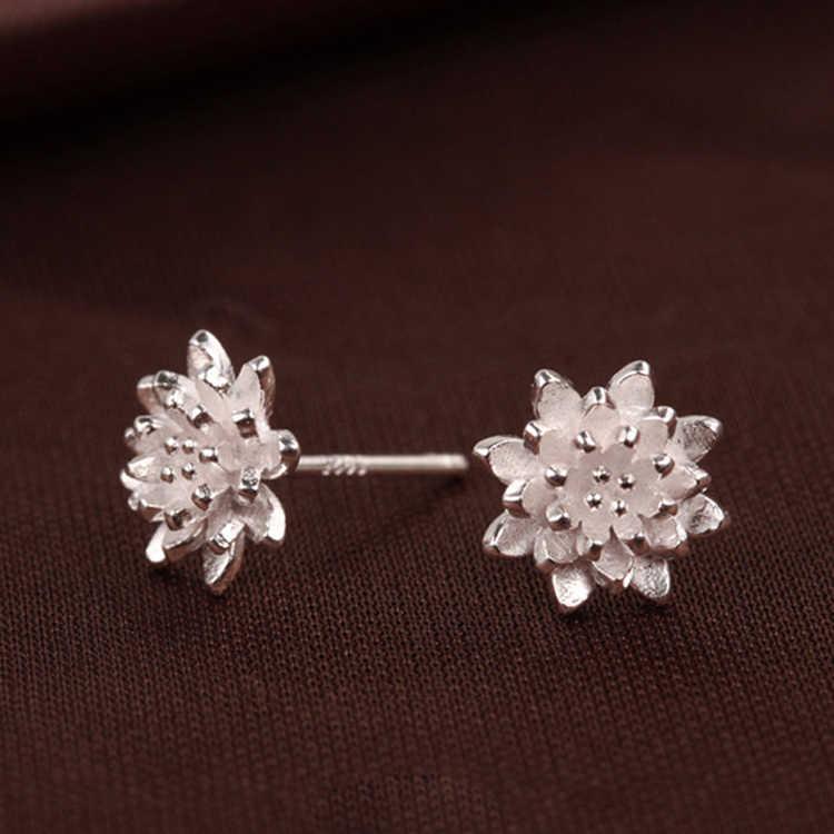 2018 mignon femme bijoux à la main femmes 925 argent fleur oreille boucles d'oreilles oreille-0585 mode