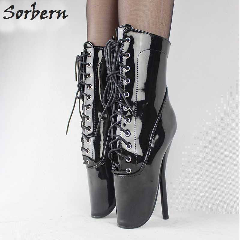 Sorbern Women Ankle Boots Fetish Ballet Heels Lace Up Plus Size 18CM Heels Custom Color High Thin Boots Patent Leather Boots jialuowei brand new high heel 7 18cm wedges heel ballet boots sexy fetish lace up patent leather knee high long boots plus size