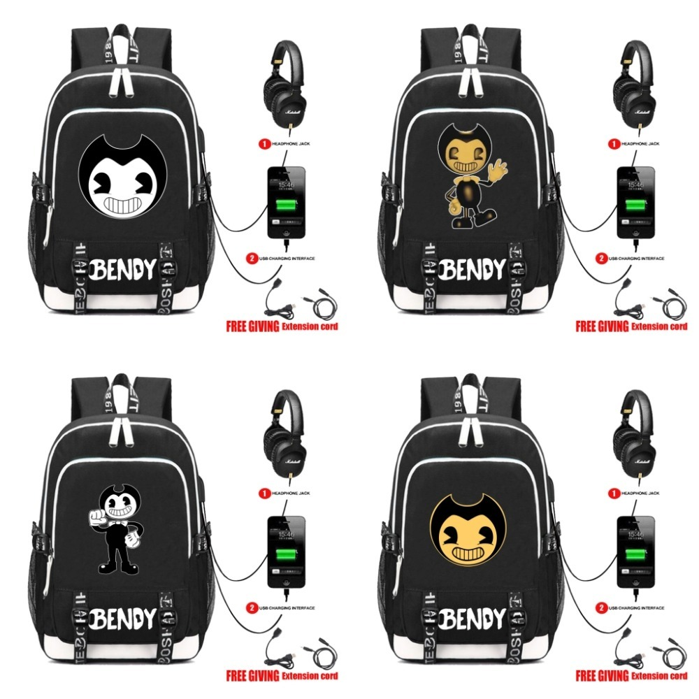 Game Cartoon Backpack with USB Charging Port and Lock Headphone interface for College Student Work Men Women fortnite backpack with usb charging port and lock