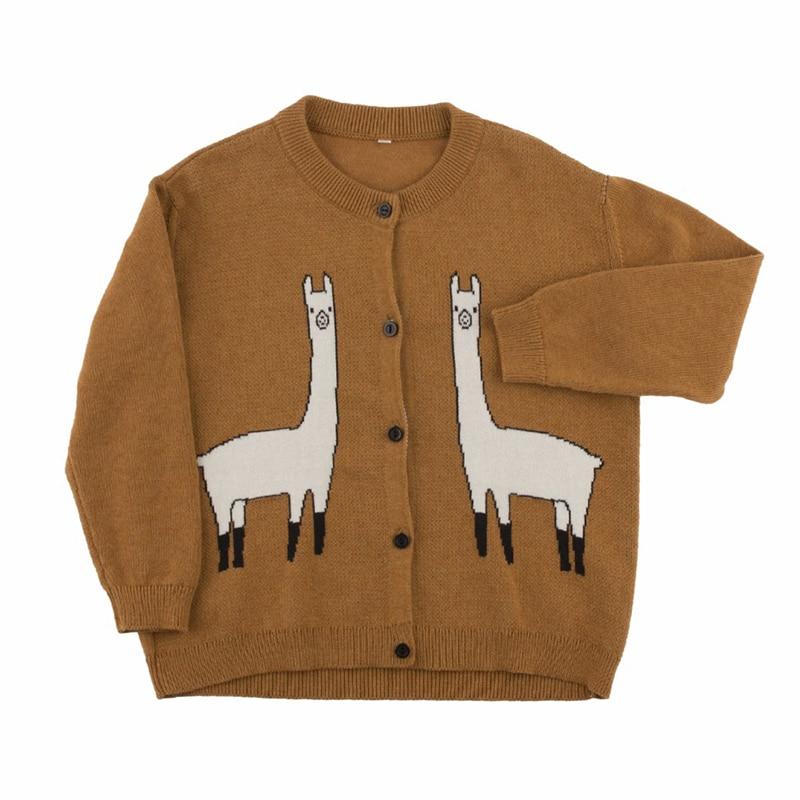 Girls Alpaca Cardigan Sweater Fashion Knitted Kids Cartoon