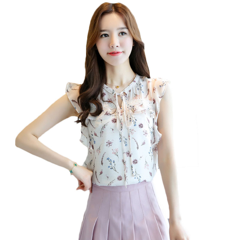 Cheap Sale Sleeveless Women Chiffon Shirt 2018 Summer New Fashion Korean Loose Ruffle Small Fresh Print Chiffon Top Female Plus Size Lq22 Goods Of Every Description Are Available Blouses & Shirts