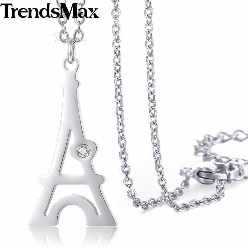Trendsmax wieża eiffla wisiorek naszyjnik panie kobiet łańcuch ze stali nierdzewnej Rolo Link złoto srebro KKNM149