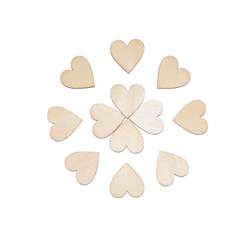 50pcs 40mm Wooden Heart Kids Birthday Party Supplies Diy Scrapbook Craft Wedding Decoration ValentineS Day
