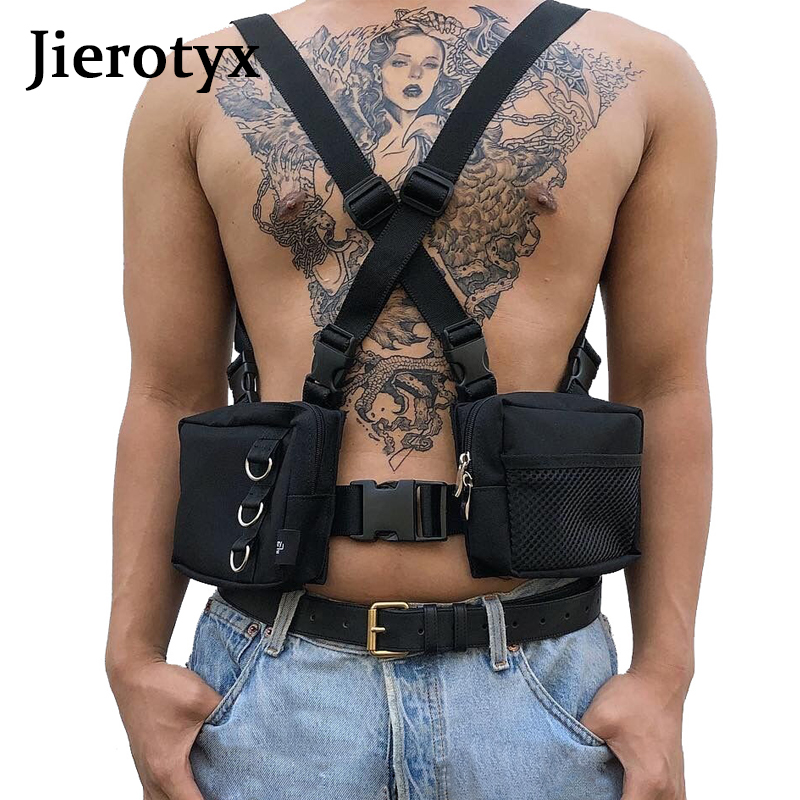 JIEROTYX Fashion Tactical Harness Chest Rig Bag Hip-Hop Oxford Two Pockets Fanny Pack Black Functional Vest Women