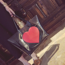 Xiao Shuai Fu 2018 New Summer Beach Bag PVC Clear Transparent Bags Handbags Women Shoulder Bags Large Capacity Composite Bag