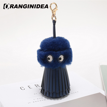 Genuine Leather +Lambswool Fluffy Ball for Handbag Shoulder Crossbody Bags Cute Charm Cartoon Pompoms Accessories for Women Bag