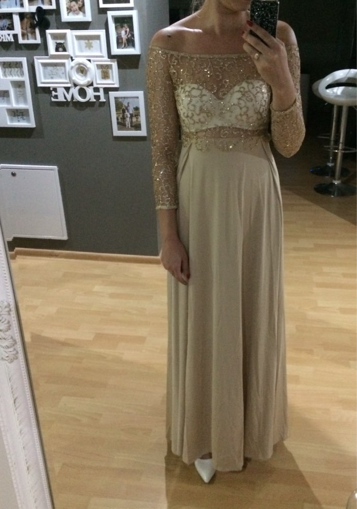 'All Tassle No Hassle' Gold Lace Maxi Dress photo review