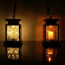 Открытый Сад Двор солнечной энергии подвесной светодиодный гирлянды Мерцание Лампы в форме свечи Фонари лампа
