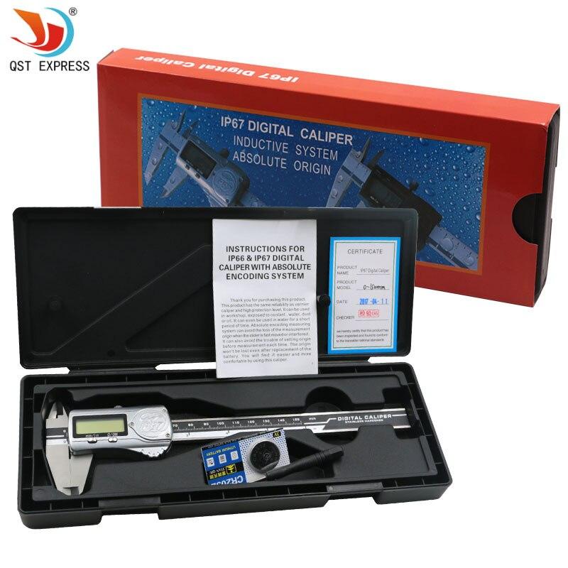 QSTEXPRESS 0-150mm 6 pulgadas IP67 alta precisión aceite-prueba calibrador Digital resistente al agua
