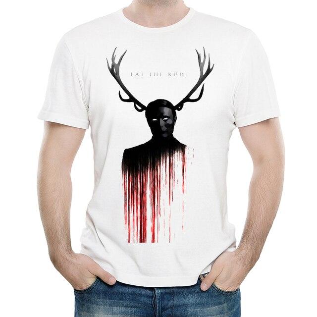 1d73963fc7c3 Hannibal T Shirt Mens Short Sleeve Fashion America Drama Hannibal Elk T- shirt Top Tees White tshirt