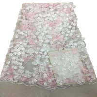 Bridal Lace White Pink 3d Little Flower Nigeria Embroidery Lace African French Tulle Net Lace Fabric with Beads X664 1