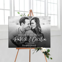 Personalized Welcome Wedding Sign Black White Photo Printable Custom Entrance Welcome Sign for Wedding Bridal Shower Decoration(China)