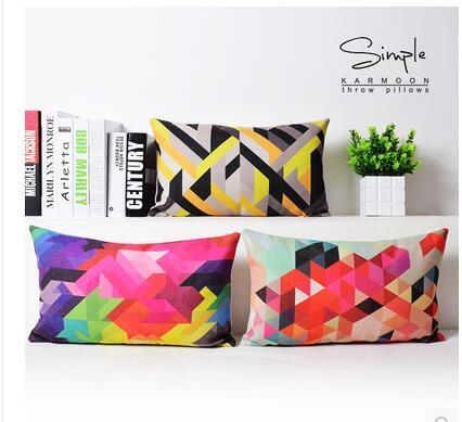 50x30 cm abstrait coloré géométrique housse de coussin lombaire jeter taie d'oreiller linge Rectangle décoratif oreillers cas