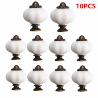 MTGATHER 10pcs White Metal Plastic Vintage Style Door Knobs Cabinet Drawer Cupboard Kitchen Pull Handle Durable