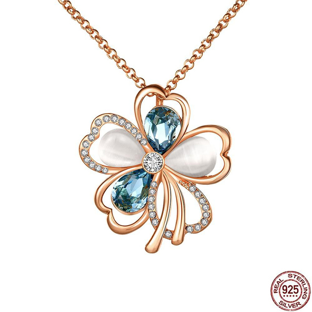 925 Sterling Silver Natural AAA Zircon Jewelry Flowers Pendant Gemstone Necklace