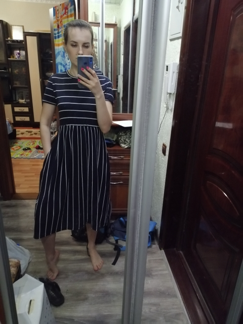 Navy Elegant Round Neck Short Sleeve Mixed Stripe Natural Waist Smock Dress Summer Women Weekend Casual Dresses photo review