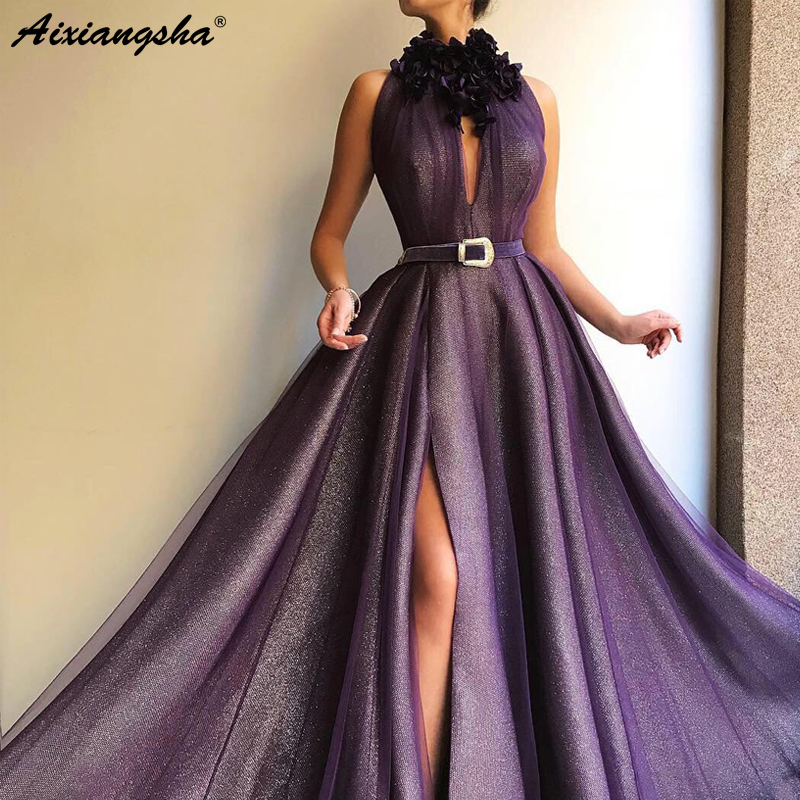 Purple Muslim   Evening     Dresses   2019 High Neck A-Line Tulle Slit Islamic Dubai Saudi Arabic Long   Evening   Gown with Belt Prom   Dress