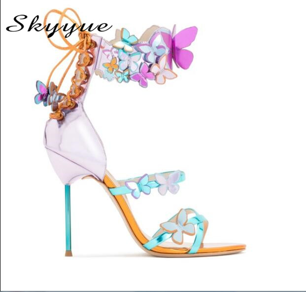 2018 New Genuine Leather Gladiator Lace Up Women Summer Sandals Sexy Open Toe Floral Women Thin HIgh Heels Shoes Women Wedding loslandifen sexy gladiator women sandals open toe lace up thick high heels shoes ladies summer red bridal party shoes 368a 1pa