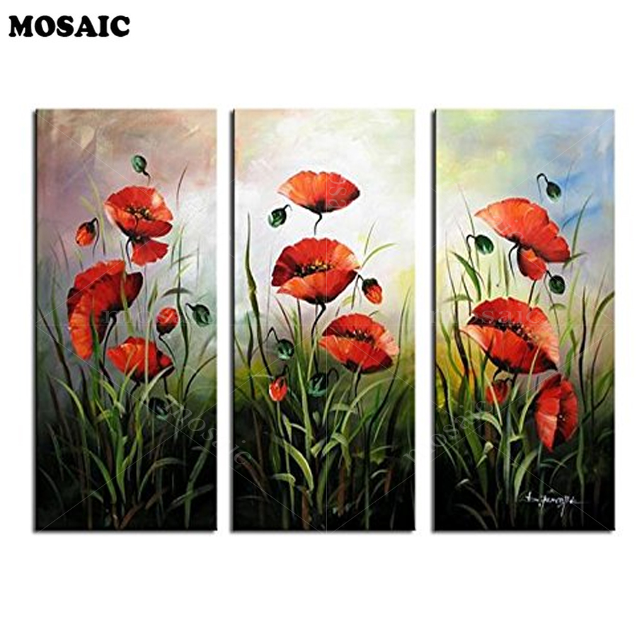 3pcs/set, 5D Diamond Embroidery Red Poppies Spring Flower Diy Diamond Painting Cross Stitch Full Mosaic Square Rhinestones E308